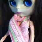 Taffy Pull Scarf for Blythe Doll in pink and pale green