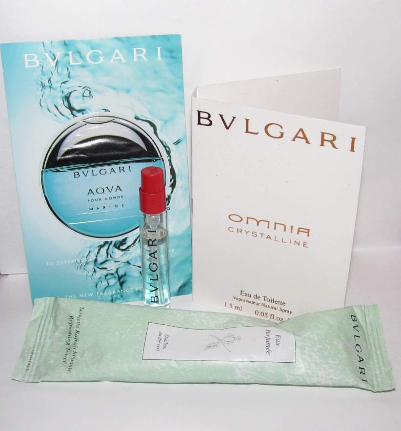 4 Bulgari Sample Spray Vial Lot / Refreshing Towel - Omnia / Aqva