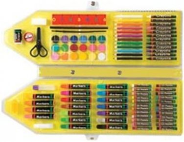 NEW Art Studio Kit All Media 95 pc Pencils Crayons Oil Pastels Watercolor Brush