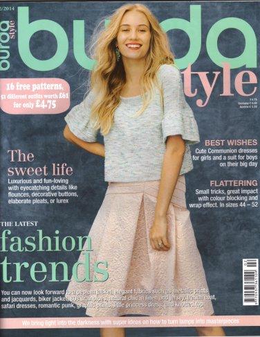 NEW Burda Magazine 02/2014 Uncut Folded Patterns US 2/4-24 (EUR 34-52) English