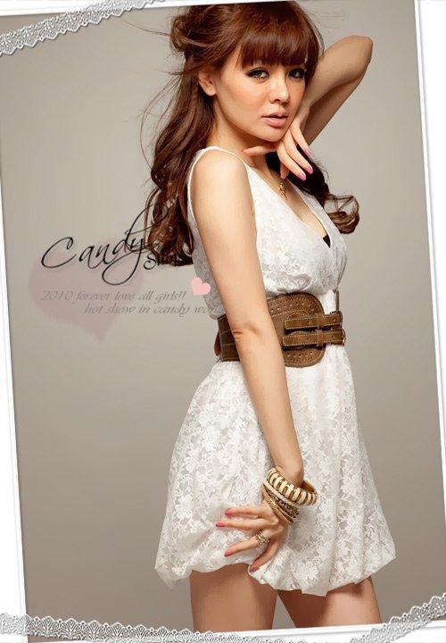 D1018 lantern-like French lace dress