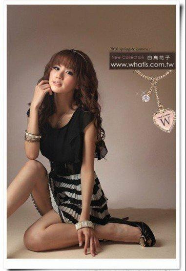 D1021 Korean striped pleated dress
