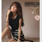 D1021 Korean striped pleated dress