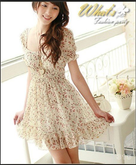 D1022 Korean Floral dress collar