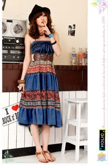 D1038 (dark blue) retro bohemian personality to wear two dresses