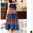 D1038 (dark blue) retro bohemian personality to wear two dresses