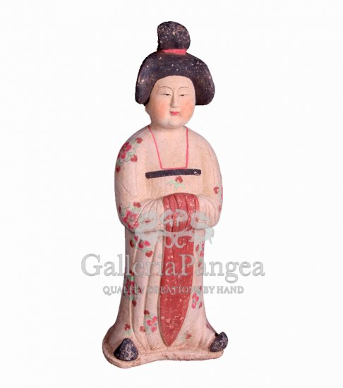 Pottery Statue, 'Hand Painted Tang Lady'