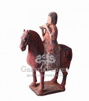 Pottery Horse scuplpture, 'Rider Playing Xun'