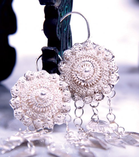 Pure Silver Earrings, 'Sunflower'