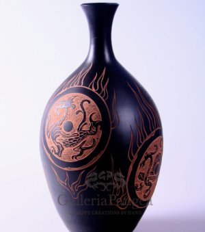 Black Pottery Vase, 'Four Gods'