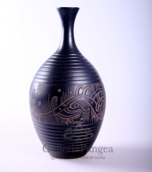 Black Pottery Vase, 'Flying Drgaon'