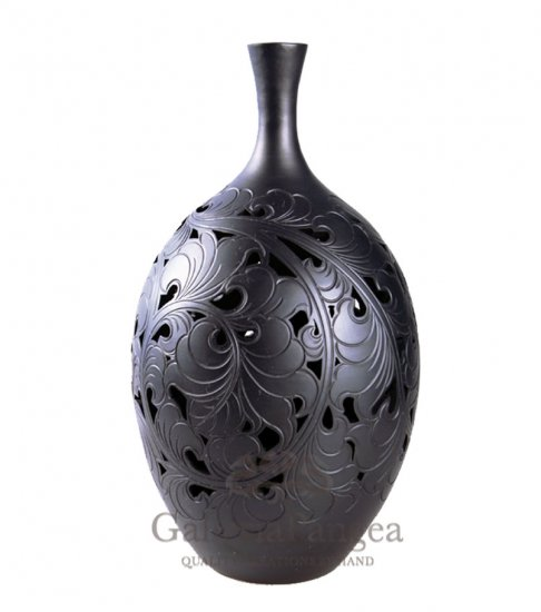 Black Pottery Vase, 'In Bloom'
