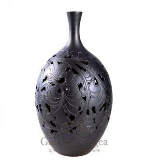 Black Pottery Vase, 'In Bloom'