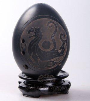 Black Pottery Ocarina, 'White Tiger'