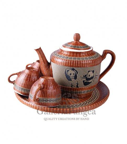 Bamboo Porcelain, '7-piece Panda Tea Set'