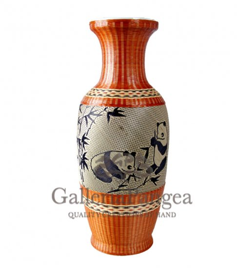 Bamboo Covered Porcelain, 'Panda Vase'