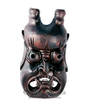 Wooden Nuo Mask, 'Mountain Guardian'