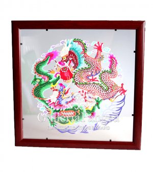 Paper Cut (framed), 'Double Dragon'