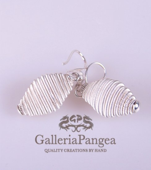Silver Earrings, 'Honey Combs'