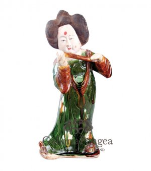 Pottery Statue, 'Tang Lady Playing a Flute'