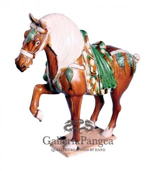 Pottery Horse Sculpture, 'Stepping Horse'