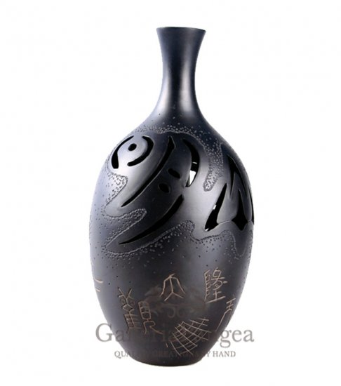 Black Pottery Vase, 'Nature Elements'