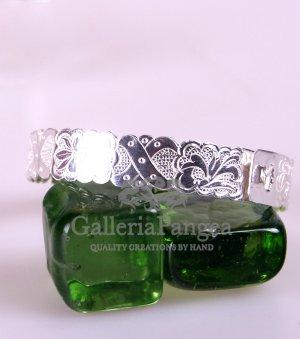 Silver Bracelet, 'Peony'