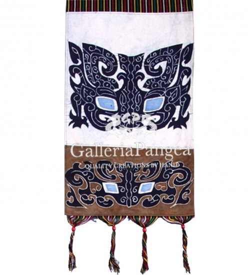 Batik Painting, 'Ancient Bronze Motif Letter Holder'