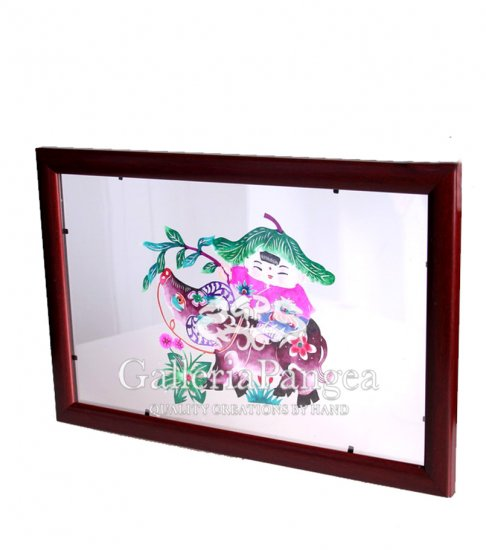 Paper Cut (framed), 'Child Riding an Ox'
