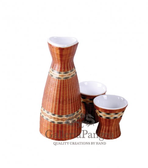 Bamboo Porcelain, '3-piece Sake Set'