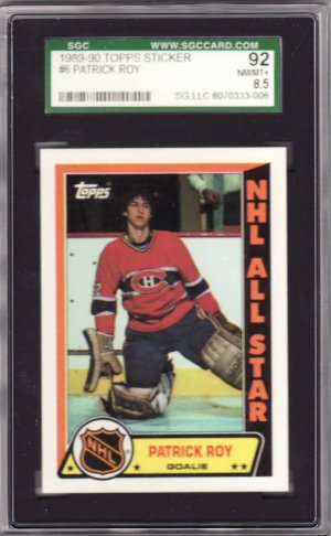 1989-90 Topps Sticker #6 Patrick Roy SGC 92