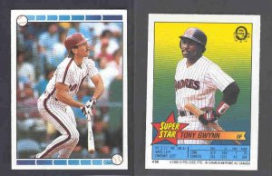1989 O-Pee-Chee Sticker Backs #50 TONY GWYNN w/ #120 Mike Schmidt