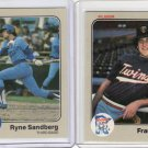 338- 1983 Fleer Baseball Cards w/ RYNE SANDBERG Rookie RC