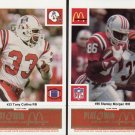 1986 McDonald's Patriots Gold Tab #86 Stanley Morgan & #33 Tony Collins