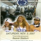 2007 PENN State Football Suite Level Ticket Stub vs Purdue Joe Paterno