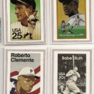 1989 USPS Legends Baseball Cards Ruth Gehrig Robinson Clemente
