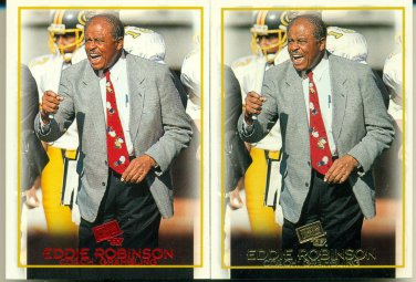 2- 1997 Press Pass Eddie Robinson #44 Coach Nebraska Football Gold & Red Version