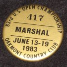 1983 U.S. Open Golf Championship Marshal Badge Pin Oakmont, PA Larry Nelson Winner