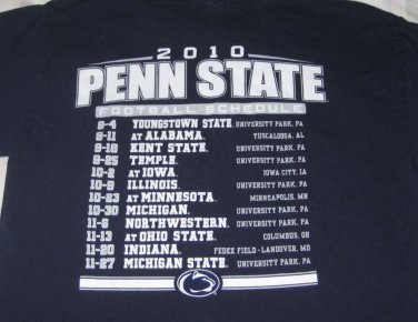 2010 Penn State Football Schedule T-Shirt Size Large Navy
