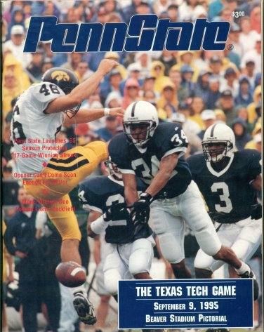 Penn State Football Program September 9, 1995 vs Texas Tech BSP Beaver Stadium