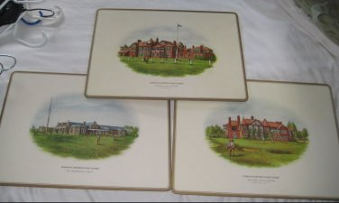 SET OF 3 PIMPERNEL FAMOUS BRITISH GOLF CLUBS PLACEMATS Troon, Lytham, Liverpool