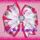 Happy Birthday Hair Bow Clip in Fuchsia and White