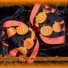 Happy Halloween Pumpkin Hair Bow Clip