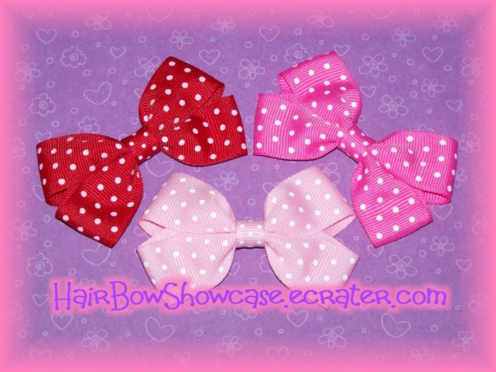 Three Small Baby Hair Bow Clips in Swiss Dots