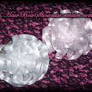 Boutique Flower Puff Satin Hair Bow Clips in White and Light Pink with Silver Trim