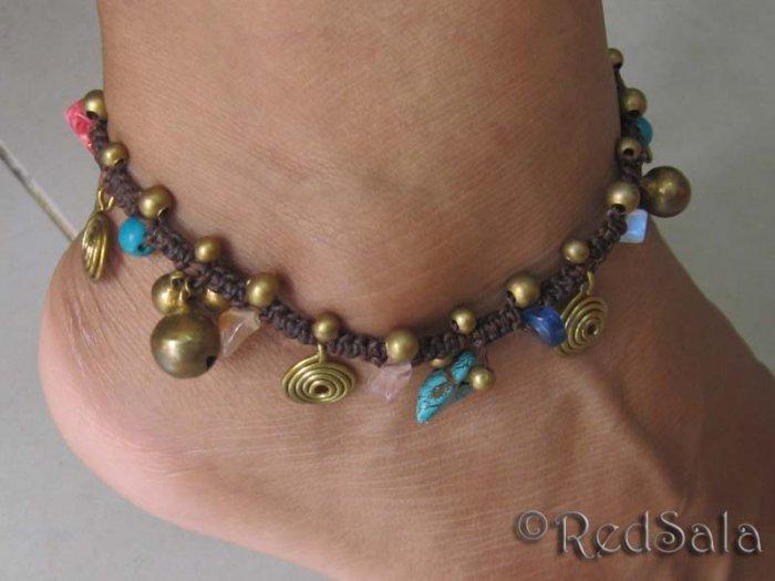Handmade Thai Craft ANKLET Beads Bells Spirals Stones