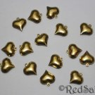 15 New Brass Bead Hearts Craft Bracelet Jewelry Making