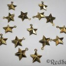 15 Brass Bead Stars New 1.5 cm Craft Jewelry Making