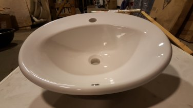 *White Spanish Drop-In Sink w/ 1-hole Faucet