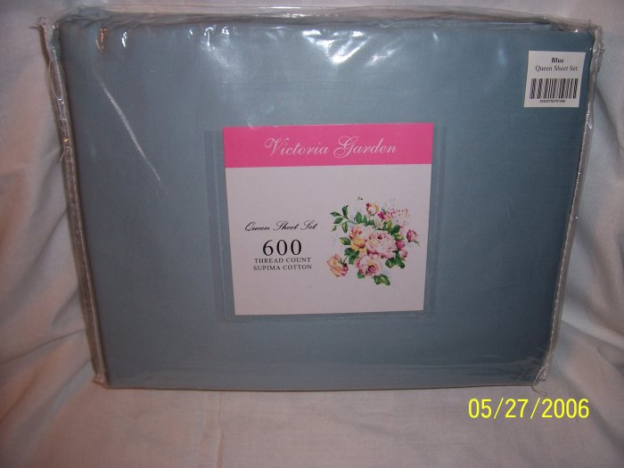 VICTORIA GARDEN 600 TC SUPIMA COTTON QUEEN SZ SHEET SET - SAVE 65% OFF RETAIL!